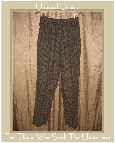 FLAX by Jeanne Engelhart Brown Basket Weave LINEN Pants Medium M