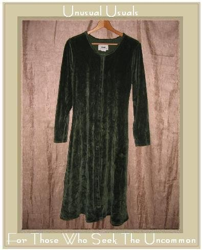 Jeanne Engelhart Flax Green Cotton Velour Tunic Dress Petite P