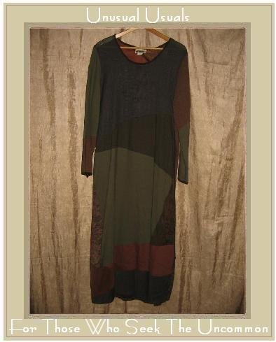 ZOE Long Earthy Rayon Wool Patchwork Dress Medium M