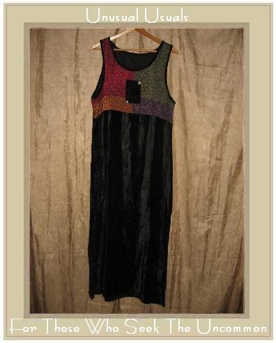 Funky Boho Hippy Velvet Patchwork Dress Small S Medium M