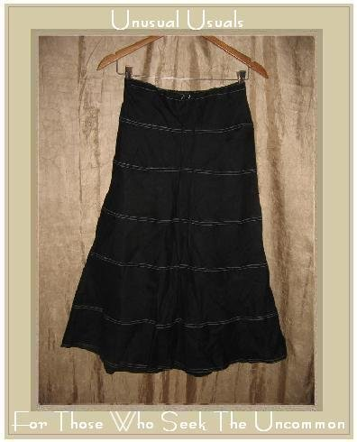 SOLITIARE Fluttery Black LINEN Drawstring Skirt X-Small XS