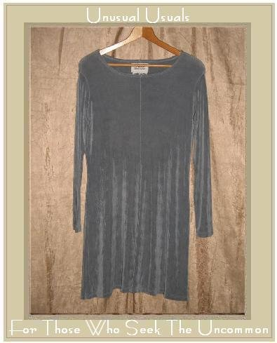 FLAX by Jeanne Engelhart Short Shapely Slinky Gray Knit Dress Medium M