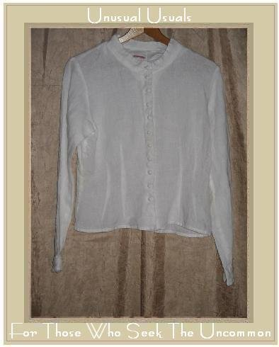 SOLITAIRE White Shapely Linen Button Shirt Top Medium M
