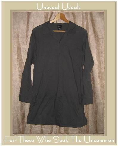 EILEEN FISHER Long Gray Cotton Tunic Top Shirt Medium M