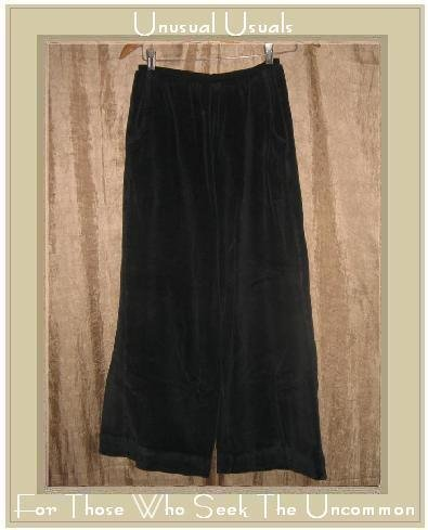 R-Clan by Jeanne Engelhart BLACK VELOUR Flood Pants Small S