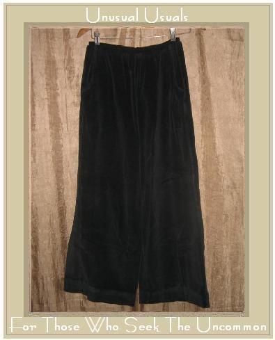 R-Clan by Jeanne Engelhart BLACK VELOUR Flood Pants Small S
