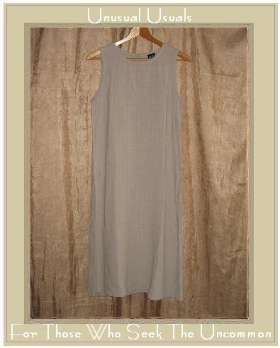 Eileen Fisher Long Beige Textured Rayon Linen Dress Small S