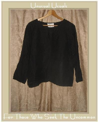 CAROL CAPEK Soft Black Boxy Tunic Top Shirt Small S