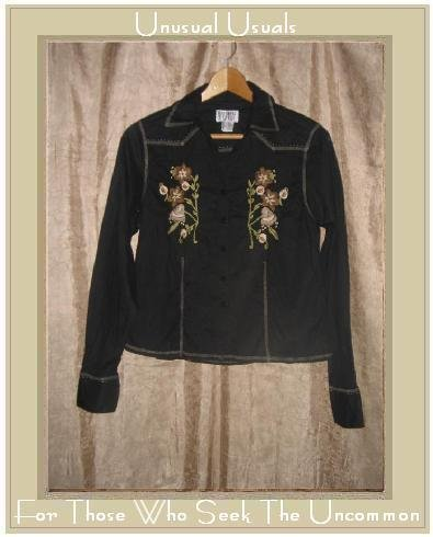 FUNKY PEOPLE Shapely Black Cotton Embroidered Button Shirt Top Medium M
