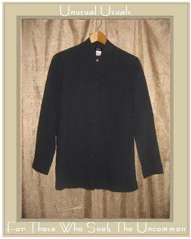Eileen Fisher Black Wool Button Jacket Top Petite Medium PM
