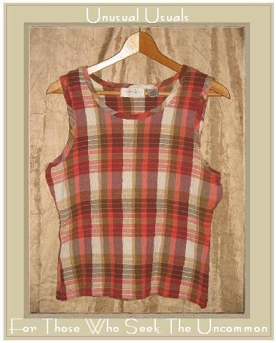 Lemon Grass Puckered Plaid Pullover Tank Top Shirt LARGE L