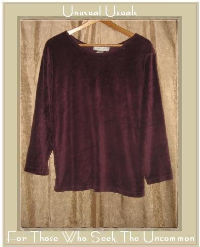 TWEEDS Soft Purple Velour Knit Pullover Shirt Top Medium M