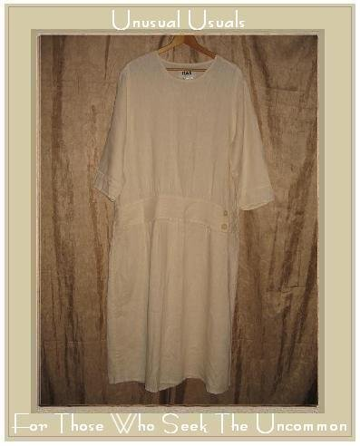 FLAX Cream LINEN Twenties Theme Dress Jeanne Engelhart Small S