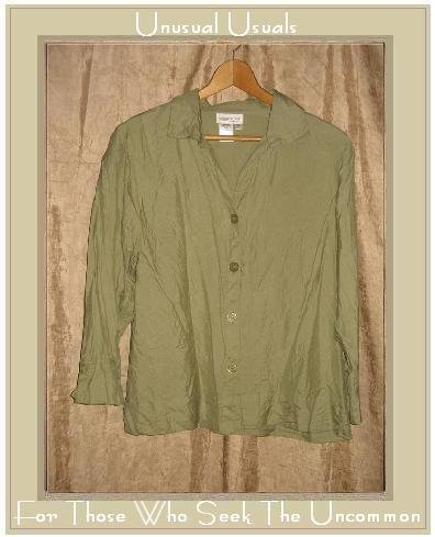 Coldwater Creek Green Silk  Button Shirt Tunic Top Medium M