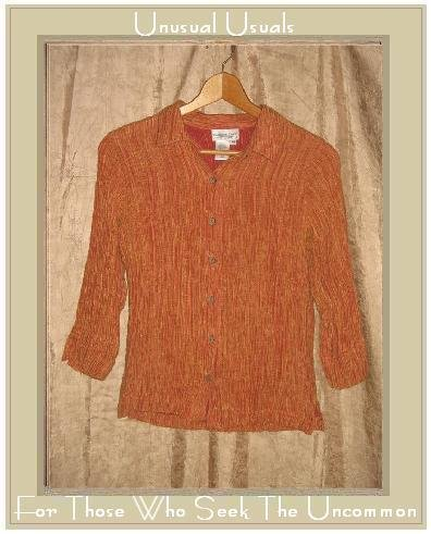 Coldwater Creek Textured Pumpkin Striation Button Shirt Tunic Top Hemp & Silk  Medium M