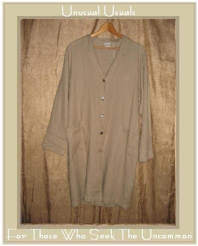 GERTIES Long Natural LINEN Duster Button Jacket Top Small S
