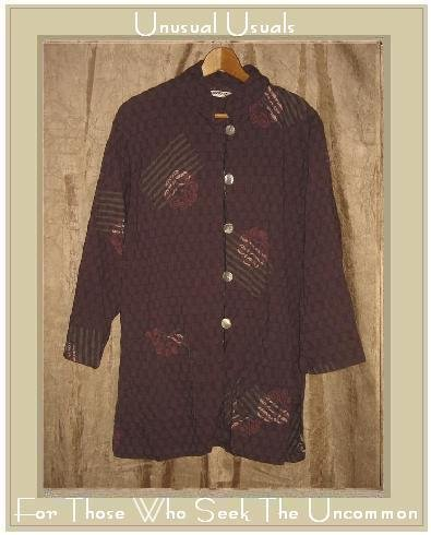 ASAICRAFT Long Purple Button Jacket Tunic Top Large L