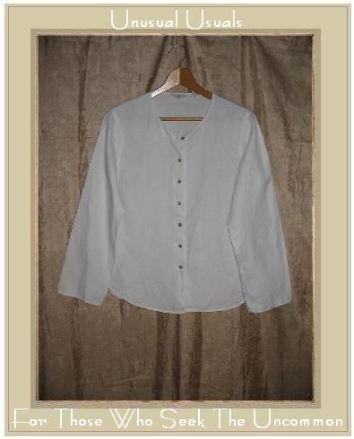 J. Jill White Cotton Tunic Top Button Shirt Large L
