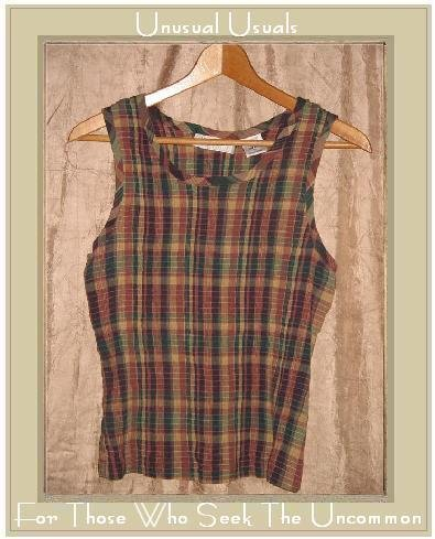 Lemon Grass Puckered Plaid Pullover Tank Top Shirt X-LARGE XL