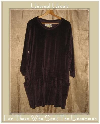 ANGELHEART DESIGNS by Jeanne Engelhart Plum Velour Skirted Tunic Top Dress FLAX Small S