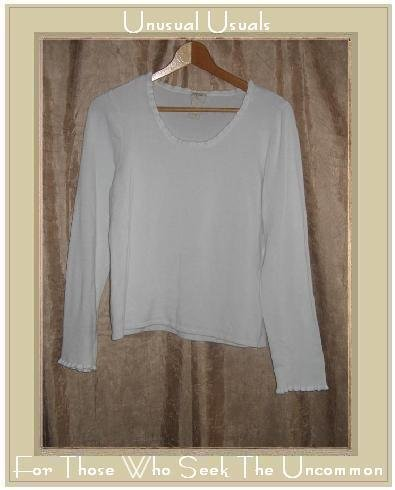 J. Jill Stretch White Knit Ruffle Trim Pullover Top Medium M