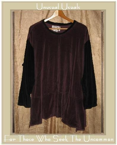 Angelheart Design by Jeanne Engelhart Flax Velour Peplum Tunic Top Shirt LARGE L