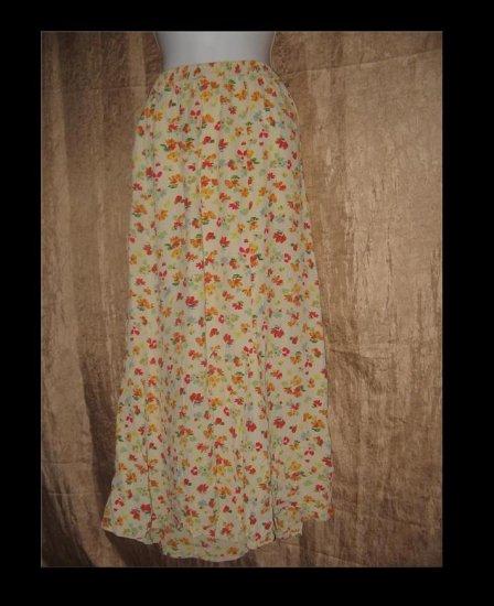 PUTUMAYO Long Floral Rayon Skirt Engelhart Flax Large L