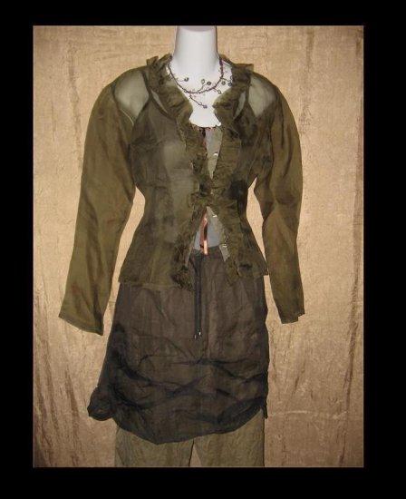 NEESH by DAR Green Silk Ruffle Shirt Top Medium Large M L