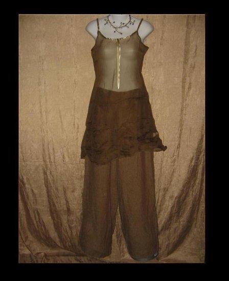 New Neesh by D.A.R. Floaty Olive Silk Ribbon Slip Dress X-Small XS