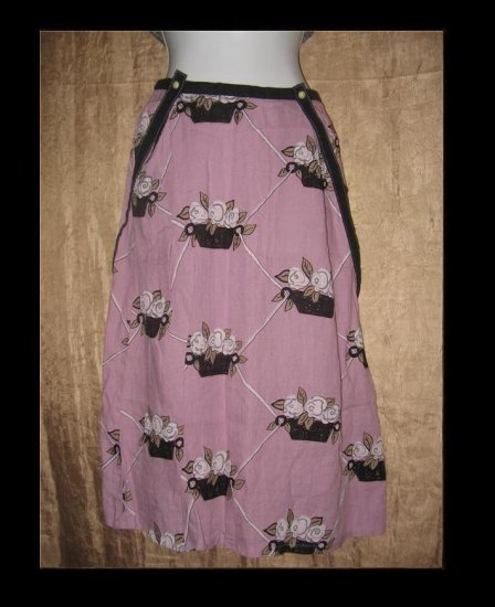 SOLITAIRE Long Purple Floral Linen Suspended Skirt Engelhart FLAX Small S