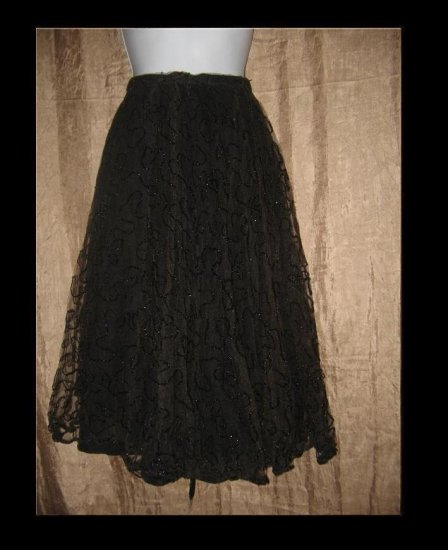 Vintage Full Floaty Black Beaded Layered Tulle Skirt Medium Large M L