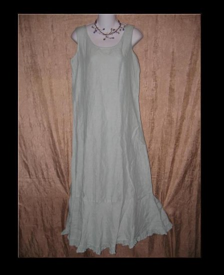 CP SHADES Long Robbins Egg Blue LINEN Ruffle Dress Small S