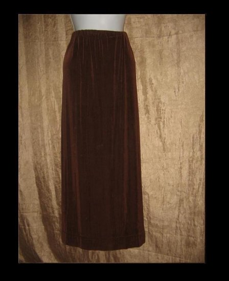 FLAX by Jeannge Engelhart Long Brown Slinky Skirt Petite P