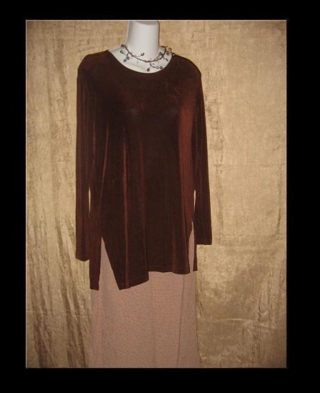 FLAX by Jeannge Engelhart Brown Slinky Tunic Top Shirt Small S
