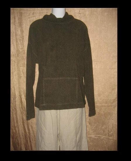 EILEEN FISHER Soft Nubby Knit Turtleneck Tunic Top Shirt Large L