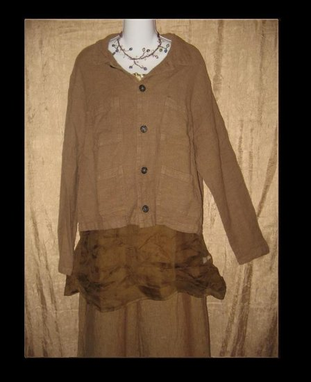 CP SHADES Boxy Cotton Linen Button Jacket Coat Large L