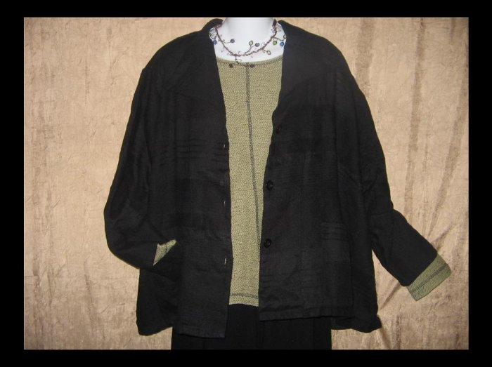 New Jackie Loves John Black Textured Linen Button Jacket Medium M