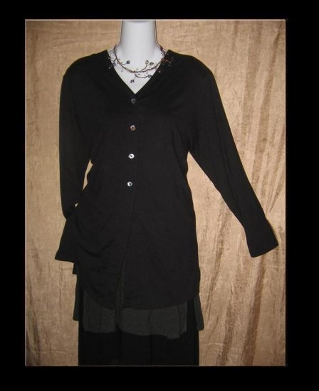 J. Jill Long Black Knit Button Tunic Top Jacket Medium M