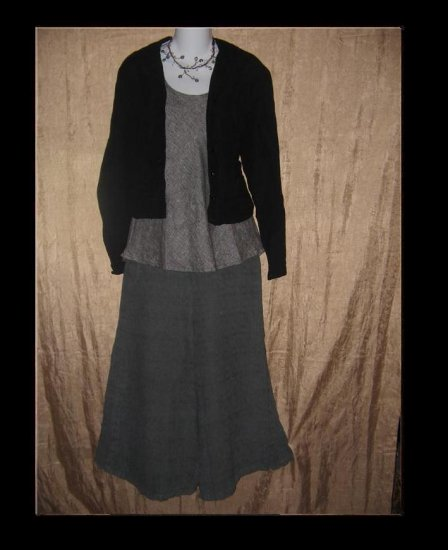 FLAX by Jeanne Engelhart Black Shapely Jacket Top SMALL S