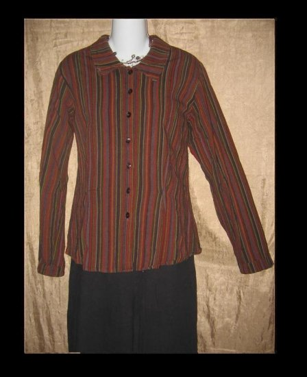 FLAX Shapely Button Shirt Top Jeanne Engelhart Small S