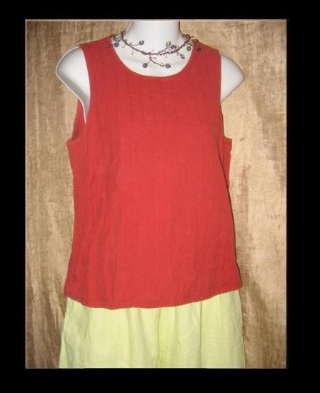 FLAX Rust Textured Stripe Tank Top Shirt Jeanne Engelhart Small S