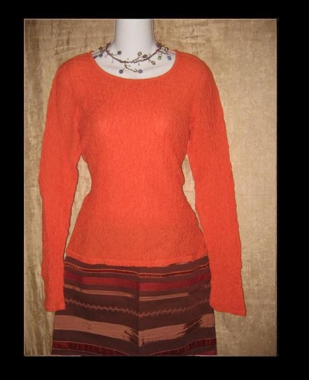 J. Jill Stretch Orange Puckered Knit Pullover Shirt Top Small Petite SP
