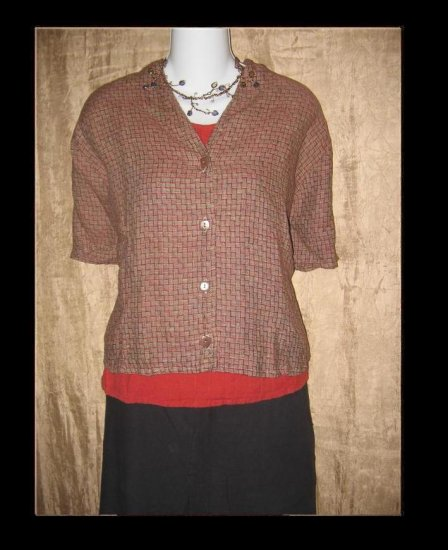 FLAX by Jeanne Engelhart Linen Button Shirt Top Medium M