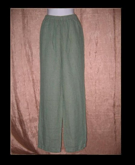 FLAX Brown & Teal Tweed LINEN Pants Jeanne Engelhart Medium M