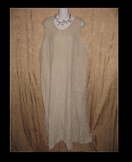 FLAX Jeanne Engelhart Long LINEN Jump Dress Large L