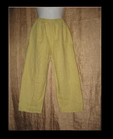 Chico's Design Green LINEN Capris Pants Size 1 Small S