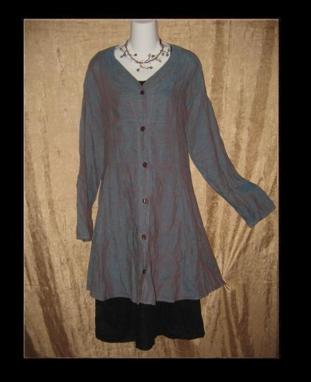 FLAX by Jeanne Engelhart Night Sky Jubilation Jacket Shapely Tunic Top Dress Medium M
