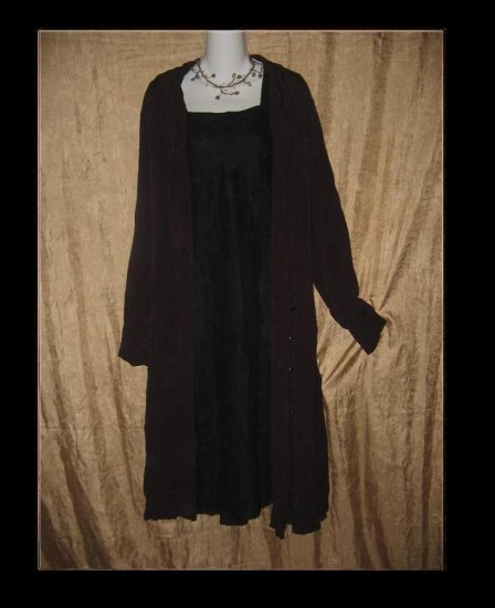 FLAX by Jeanne Engelhart Long Shapely Duster Dress Jacket Large L