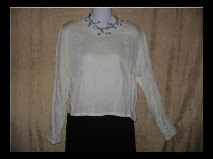 PUTUMAYO Soft White Rayon Boxy Pullover Shirt Top Small S