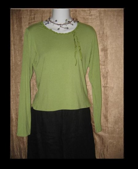 NEESH by D.A.R. Green Ribbon Knit Pullover Shirt Top Small S